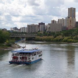 Edmonton by Joerg Schlagheck - City,  Street & Park  Vistas ( skyline, canada, alberta, good, edmonton, boat, new., city, river )
