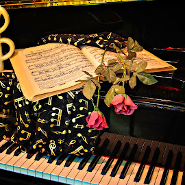 My Music  2980 by Karen Celella - Artistic Objects Musical Instruments ( music, keyboard, piano, treble clef, grand, beethoven, still life, book, sheet music, instrument, scarf,  )