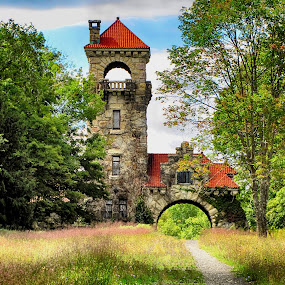 Gatehouse by Jeff Dalton - Buildings & Architecture Decaying & Abandoned ( field, building, nature, gate house, buildings, trees, stone, stone structure, fields )