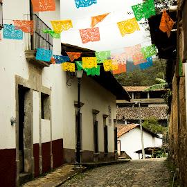 St Sibastian by Vladimir Nagalin - City,  Street & Park  Street Scenes ( color, mexico, st sibastian, old town, city street )