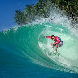 in the barrel by Indrawaty Arifin - Sports & Fitness Surfing ( red, coconut, wave, sea, barrel, surf )