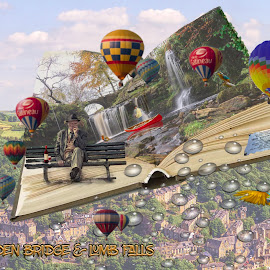 by James Holdsworth - Digital Art Places ( #composite #waterfall #bench #oldman #book #layers #mask #balloons #fishing #landscape )