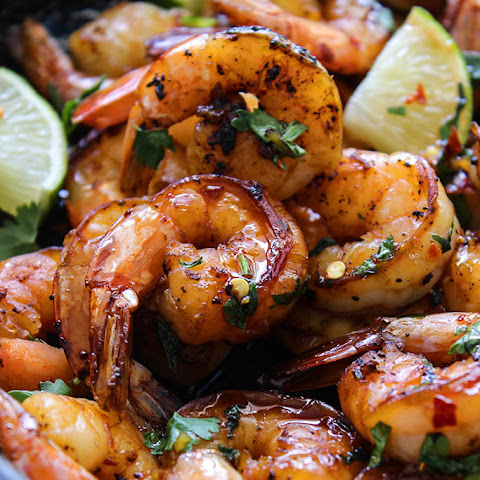 Cilantro Lime Honey Garlic Shrimp Skillet