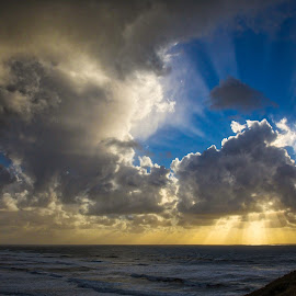 Cannon Beach SunStar by Richard Duerksen - Landscapes Sunsets & Sunrises ( clouds, sunset, cannon beach, state park, ecola )