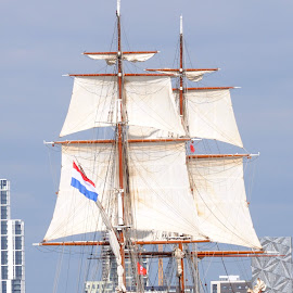 Dutch on the River by DJ Cockburn - Transportation Boats ( ship, sails, boat, sailboat, dutch ensign, mast, england, north greenwich, london, sailing, tall ship, holland, rigging, maritime greenwich, morgenster, river thames, brig )