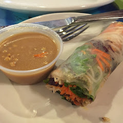 Spring roll...you are served two so I recommend either getting it as a meal or splitting with someone. It comes with a peanut sauce. It is all very tasty!