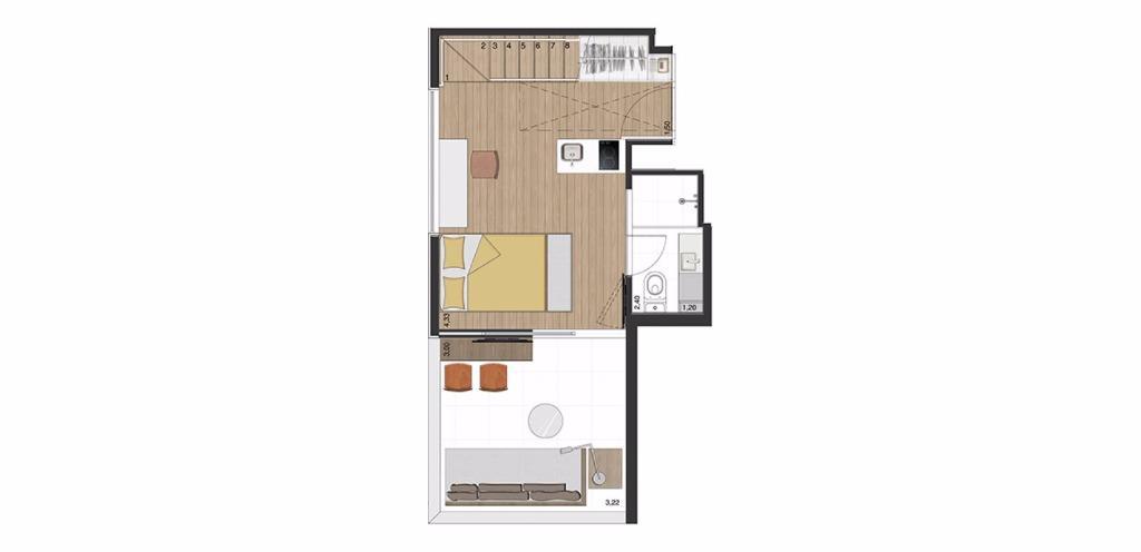 Cobertura Inferior 70 m²