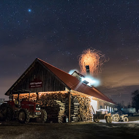 Vermont Sugar House  by Sondra Sarra - Buildings & Architecture Other Exteriors ( corey_sugarhouse, march, wood, stars, nights, steme, maple_syrup, sparks, tractor, smoke, fire,  )