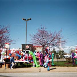 Balloons in Baltimore by Sophia Bruce - City,  Street & Park  Neighborhoods ( urban, balloons, baltimore, city, 35mm )