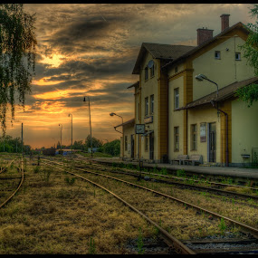Sleepy Station by Klaus Müller - Buildings & Architecture Other Exteriors ( hdr, station, railroad, litomysl, evening,  )