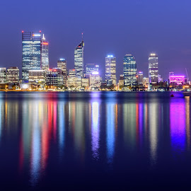 Perth at Blue Hour by Scott Cove - City,  Street & Park  Skylines ( water, skyline, perth, blue, blue hour, australia, reflections, night, western australia )