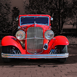 Ready to Rumble by Jeffrey Lorber - Transportation Automobiles ( red, vintage, lorberphoto, v-8, rust 'n chrome, ford, jeffrey lorber, red car )