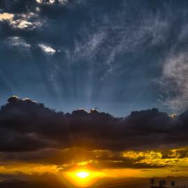 The gold sky by Aleksei Musikhin - Digital Art Places ( sky, mexico, suburban, nature, light, clouds, rays, sun )