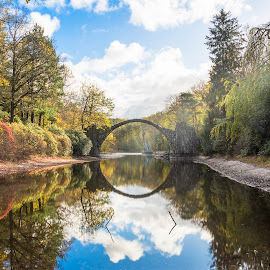 Bridge by Michal Chojnacki - Landscapes Travel ( reflection, bridge, water, shine )