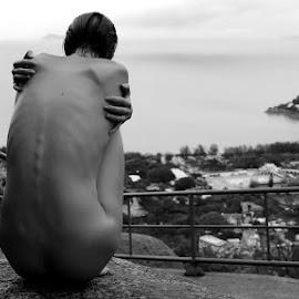 Embrace by ObjeKtiva Artphoto - Nudes & Boudoir Artistic Nude ( seaview, art, embrace, mood, nature, sexy, hong kong, macau, artnude, view, outdoors, china, rocks, beach, nude, black and white, denisa strakova )