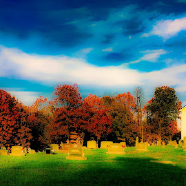 Church and cemetery  by Amanda Burton - Novices Only Landscapes ( nature, church, colors, trees, landscape )
