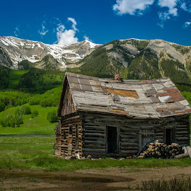 Whetstone Mountain by Mike Lacy - Landscapes Mountains & Hills ( crested butte, rustic cabin, whetstone mntn )