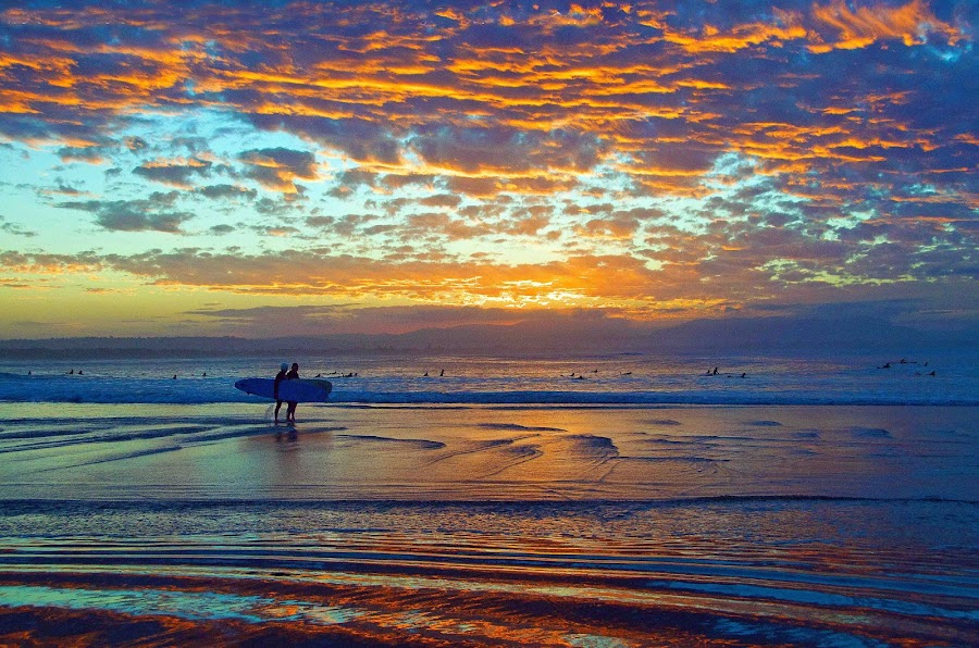 Sunset Surfers by Graham Nixon - Landscapes Waterscapes ( water, sea&colour., reflection, waves, n, beach, w, nature, s, surfer, byron bay, sunset, australia, surf )