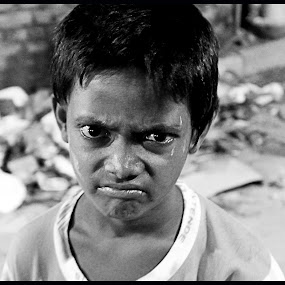 The Expression by Sudipta Jana - Babies & Children Child Portraits ( expression, intelligent, kolkata, sad, white, foolish, city, ultimate craziness, mad, crazy, happy, shots, black, face, photography, closeup, close, up )