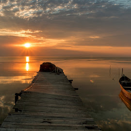 morning bliss by Luciana B. - Landscapes Waterscapes ( waterscape, warmth, lake, sunrise, boat )