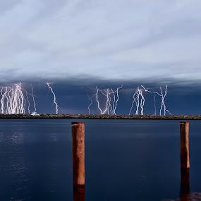 Lightning by West Aus Storms . - Landscapes Weather ( lightning, thunderstorm, seascape., weather, storm,  )