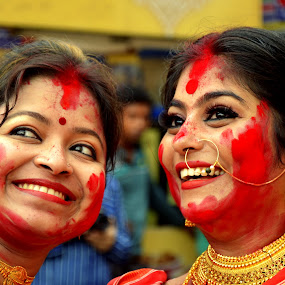Selfie during Sidur Khela  by Santanu Goswami - People Portraits of Women
