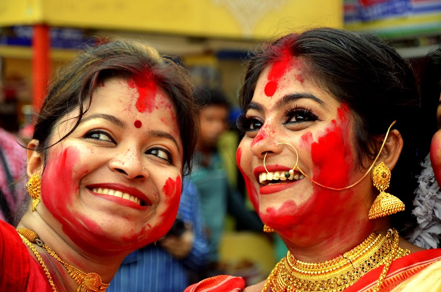 Selfie during Sidur Khela  by Santanu Goswami - People Portraits of Women