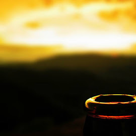 A bottle head with sunset by Nimesh Ekanayake - Artistic Objects Glass ( abstract, nature, attractive, beautiful, photography )