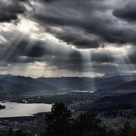 Sun across the valey by Alexandru Nita - Landscapes Mountains & Hills ( water, clouds, trees, rays, valey, sun )