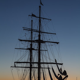 Tall ship by Glen Darrud - Transportation Boats ( water, harbor, sunset, ship, harbour )
