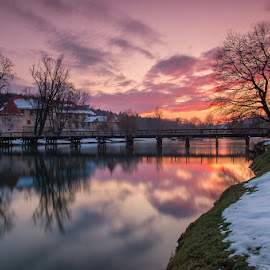 The Otočec Castle, Slovenia by Tomaž Mikec - City,  Street & Park  City Parks ( water, reflection, scenics, lake, architecture, house, dusk, urban scene, sky, winter, tree, nature, autumn, sunset, snow, outdoors, night, river )