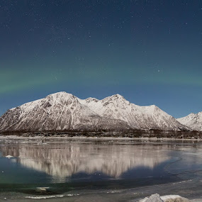 Aurora over mountains by Benny Høynes - Landscapes Mountains & Hills ( lights, mountains, winter, northern lights, aurora borealis, norway )