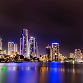 Surfers Paradise @ Night by Adz King - Landscapes Starscapes ( colour, water, lights, reflection, night )