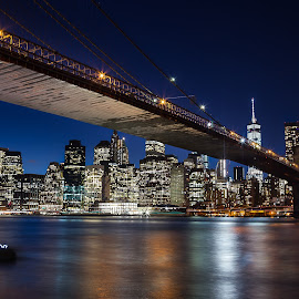 Under the Brooklyn Bridge by Jim Hamel - Buildings & Architecture Bridges & Suspended Structures ( brooklyn bridge, skyline, night, bridge, new york, brooklyn )