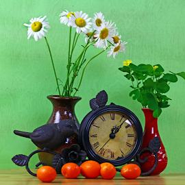 by Dipali S - Artistic Objects Still Life ( wild, vase, time, clock, still life, artistic, daisy, oranges, flowers )