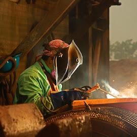 Welding by Ron Olivier - People Portraits of Men ( welding )