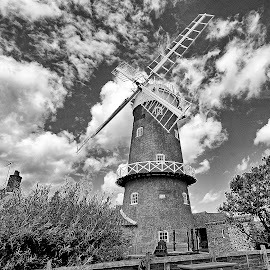 by Bob White - Buildings & Architecture Public & Historical ( clouds, wind, cloudy, windows, windmill,  )