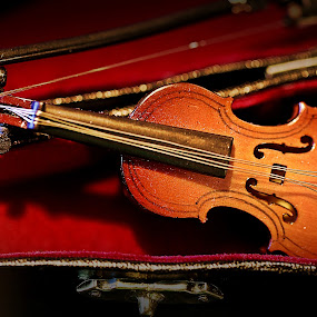 Toy Fiddle by Kevin Callahan - Artistic Objects Toys ( violin, bow, case, velvet, fiddle, miniature )