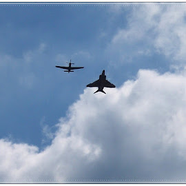 A fly over by Sandy Stevens Krassinger - Transportation Airplanes ( clouds, fly over, sky, airplanes, transportation, military,  )