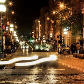 Trailing  by Arpan Krishna Deb - City,  Street & Park  Street Scenes ( artistic, light trails, night, street scene, city )
