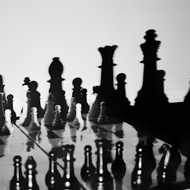 Chess battlefield by Debanga Bhusan Boruah - Black & White Sports ( battlefield, black and white, queen, chess, king )
