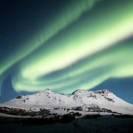 Aurora mountain by Birgir Sigurðsson - Landscapes Mountains & Hills ( mountain, winter, aurora, snow )