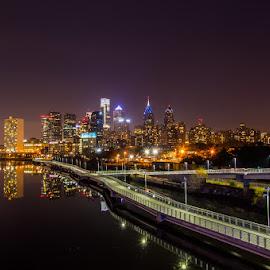 Philadeplhia walkway and skyline by Efraim van der Walt - City,  Street & Park  Skylines ( lights, skyline, night, philadelphia,  )