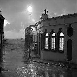 Rainy Days by Paul Trindall - City,  Street & Park  Street Scenes ( night scene, black and white, street, moody, night, rain )