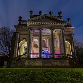 Three Orbs at Gibside Chapel by Lesley Hudspith - Abstract Light Painting ( orb, lightpainting, architecture, landscape, colours )
