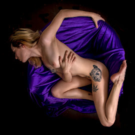 Framed in  Purple by James Wayne - Nudes & Boudoir Boudoir ( studio, nude, figure art, boudoir, modeling, art, bodysculpture, low key photography, portrait )
