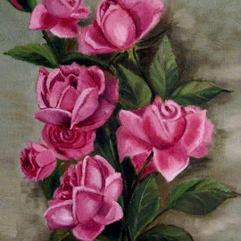 Frances Flowers by Jim Dicken - Painting All Painting ( painted roses, pink roses, roses )