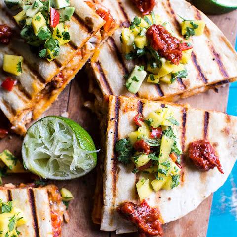 Fiesta Chicken Quesadillas with Chipotle Relish and Mango Salsa.