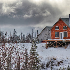 Winter In Spring by Patricia Phillips - Buildings & Architecture Other Exteriors ( cabins homer alaska )