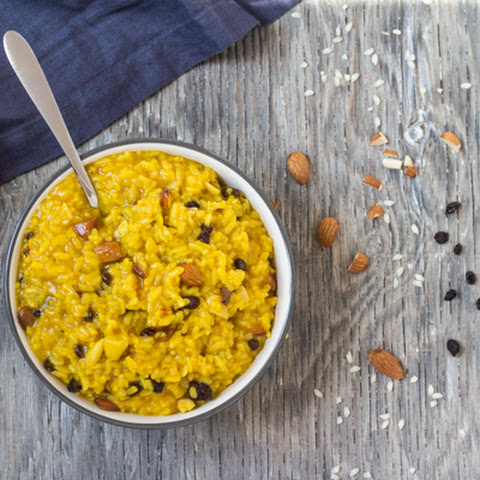 Pressure Cooker Saffron Risotto with Almonds and Currants